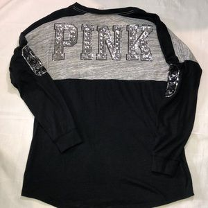 PINK - size S long sleeve sequined top